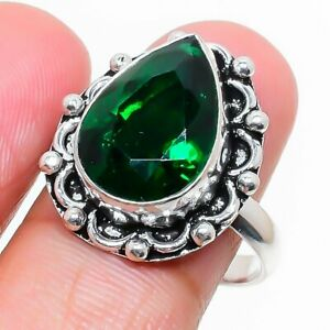 Chrome Diopside Gemstone Handmade Ethnic 925 Sterling Silver Jewelry Ring Size 7