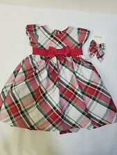 Gymboree Baby Girl Christmas Dress 12-18 month mo Red Green Plaid Hair Bows
