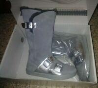 Birkenstock kids boots Danbury grey-silver leather shearling lined EU 29 US 11