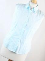 Marks & Spencer Blue Striped Cotton Blend Womens Button-down Shirt Size 12 (Regu