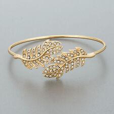 Gold Rhinestones Leaf Design Bohemian Style Stretchable Bangle Bracelet