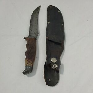 Vintage Used Schrade Walden N.Y. #148 U.S.A Fixed Blade Knife With case READ