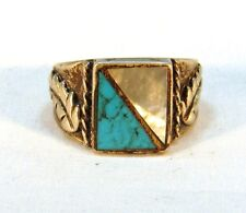 Vintage Unisex Southwest Sterling Silver Turquoise Ring (Size 7)