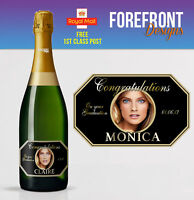 Personalised Champagne PHOTO bottle label, Birthday/Wedding/Graduation Gift