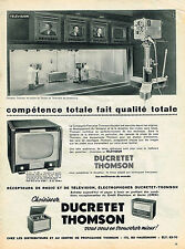 PUBLICITE ADVERTISING 045  1954  DUCRETET THOMSON  récépteur de radio téléviseur