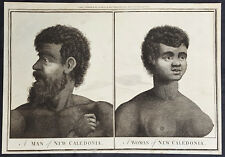 1784 Anderson Antique Print Woman & Man of New Caledonia Pacific, Capt Cook 1774