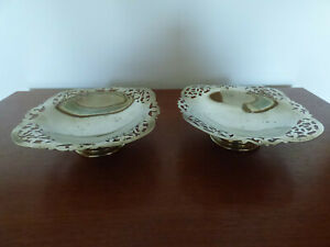 VINTAGE SILVER PLATED FOOTED SWEET DISHES / BOWLS WITH FILAGRE DETAILING EPNS