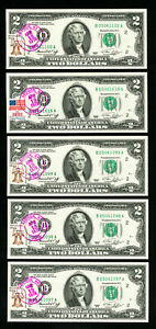 US Paper Money Lot of 9 First Day Cancel CU $2 Notes From 1976