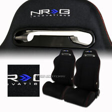 2X NRG Style Black Cloth Full Reclinable Racing Seats + Sliders For Audi Subaru