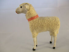 Vintage Wooly Sheep with Stick Legs and Pink Neck Ribbon