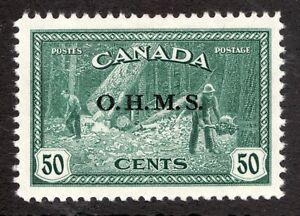 Sc #O9 - Canada - 1949 - 50 C OHMS BC Lumbering - VF MLH - superfleas - cv$220