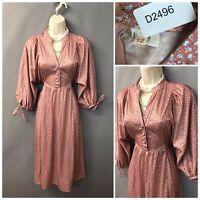 Vintage Peach Floral Polyester Dress UK 12 EUR 40 Made in England