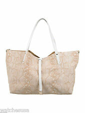 Tiffany & Co Womens Reversible Beige Suede Tote with Makeup Purse Case Bag