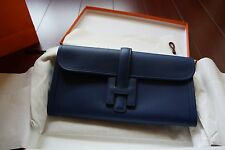 ec05b6a58b5c NEW AUTH Hermes Porchette Jige Elan 29 Veau Swift Bleu Saphir Clutch Bag  Stamp T