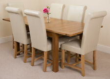 Cotswold Rustic Oak 132cm Extending Dining Table & 4 Black Washington Chairs Ivory