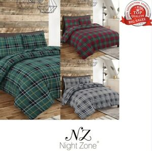 Flannelette 100% Brushed Cotton Tartan Checked Thermal Duvet Cover Bedding Size