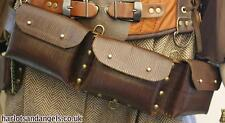 Leather ammo pouch set of Three.  PAPER leather work pattern, Steampunk, Larp
