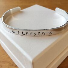 BLESSED - Heart - Metal Stamped Bracelet Aluminum Cuff Bangle Customized GIFT