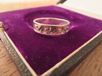 Toller 925 Silber Ring Bandring Muster Unisex Sterling Tribal Geometrisch Modern