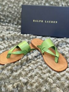 New Ralph Lauren Mens Green Leather Luxury Sandals Size 10.5 D