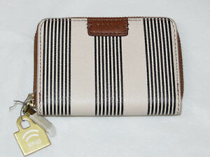 Fossil SL7499080 RFID Mini Zip PL2 Black White Stripe Leather mini card cs NWT*^