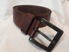 FOSSIL full grain COWHIDE weathered leather belt brass buckle Retro Classic 34