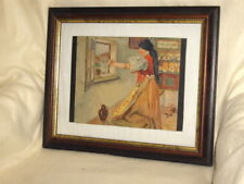 Gemälde, Aquarell, Frau in Bauernstube, signiert