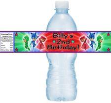 7cec4d4351 12 PJ Mask Birthday Party Water Bottle Stickers Wrappers Gekko Catboy  Owlette