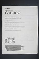 SONY cdp-102 ORIGINALE LETTORE CD istruzioni d'USO / istruzioni d'uso