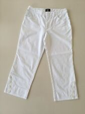 Womens New Man White Cropped Trousers, F40 (30 Inch Waist), Botton Detail
