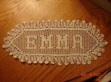 """Custom Made Filet """"name"""" Crochet Doily up to 8 Letters"""
