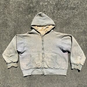Vintage 1950s 1960s Thrashed Distressed Zipper Front Heather Grey Thermal Hoodie