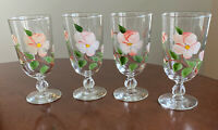 Set of 4 Franciscan Desert Rose Hand Painted Iced Tea Glasses - 12 oz