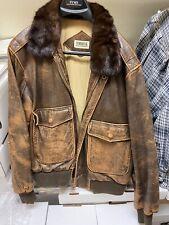 Vintage Tobruk Men's Brown Leather Jacket, Size 44 Mirage
