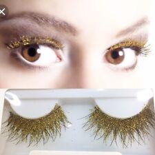 Gold Glitter False Eyelashes Glittery Burlesque Festival Party Hen 70s Disco