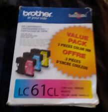 Genuine Brother LC61CL  Three Color Ink Cartridges LC613PKS LC61 New Open Box