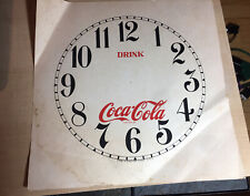 """Vtg Repro Drink Coca Cola Trademark 11"""" Clock face Dial Winsted Conn Part Paper"""