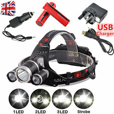 USB 15000Lumen 3x XM-L CREE T6 LED Rechargeable Head Torch Headlamp Lamp Lights