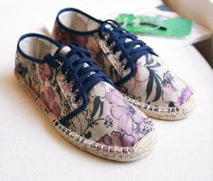 Mens Lace Up Casual Shoes Couple Floral Canvas Stitching Espadrille Loafers Flat