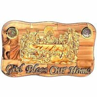 OLive wood Last Supper Plaque Hand Made in Bethlehem Holy Land with Alabaster /