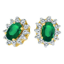 10k Yellow Gold Oval Emerald and .25 Total Ct Diamond Earrings