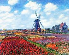 Tulip Fields W Rijnsburg Netherlands Windmill Monet Painting Canvas Art Print