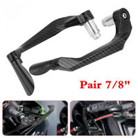 1 Pair 22mm Carbon Fiber Motorcycle Brake Clutch Levers Handlebar Protect Guard