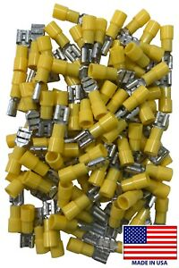 """(500) 12-10 Gauge .250 1/4"""" Tab Vinyl Female Quick Connector Wire Terminal - USA"""