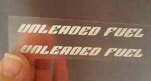 UNLEADED FUEL MOTORCYCLE FUEL TANK DECAL STICKER X2 85MM ANY COLOUR 600 125 390