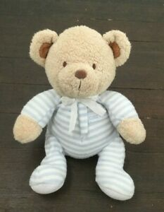 Just One Year Carters Teddy Bear Rattle Plush Baby Toy Blue Striped Pajamas