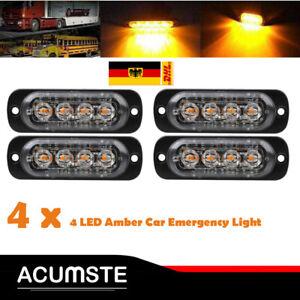 4x 4LED Auto Notfall Frontblitzer LKW Blitzlicht Warnleuchte Strobe Licht 12-24V
