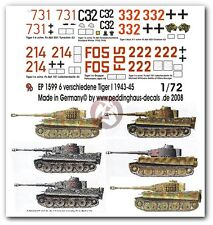 Peddinghaus 1/72 Various Tiger I Tank Markings WWII No.4 1943-45 (6 tanks) 1599