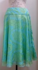 Ralph Lauren Black Label Silk Green And Turquoise Blue Floral Skirt Size 8