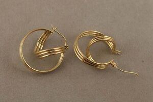 Double Hoop Earrings with Hinged Post for Pierced Ears